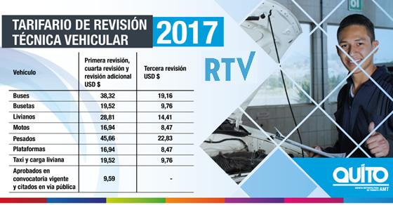 Tarifas de Revisión técnica vehicular AMT