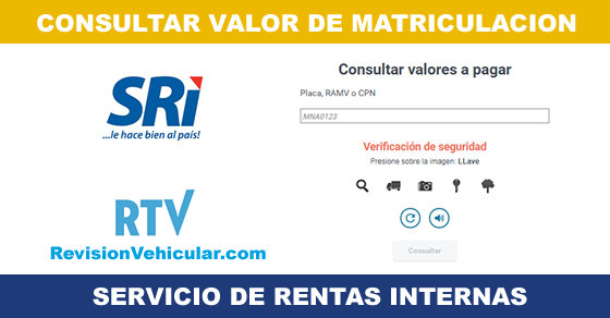 Valores pendientes matriculación vehicular SRI