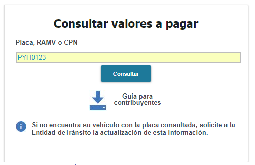 Valor de matriculación vehicular